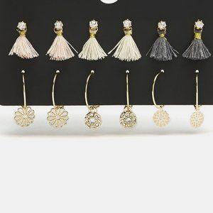 Golden 6 pairs of Tassel Stud Earrings